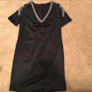 Black Silk & Rhinestone Mini Shift Dress